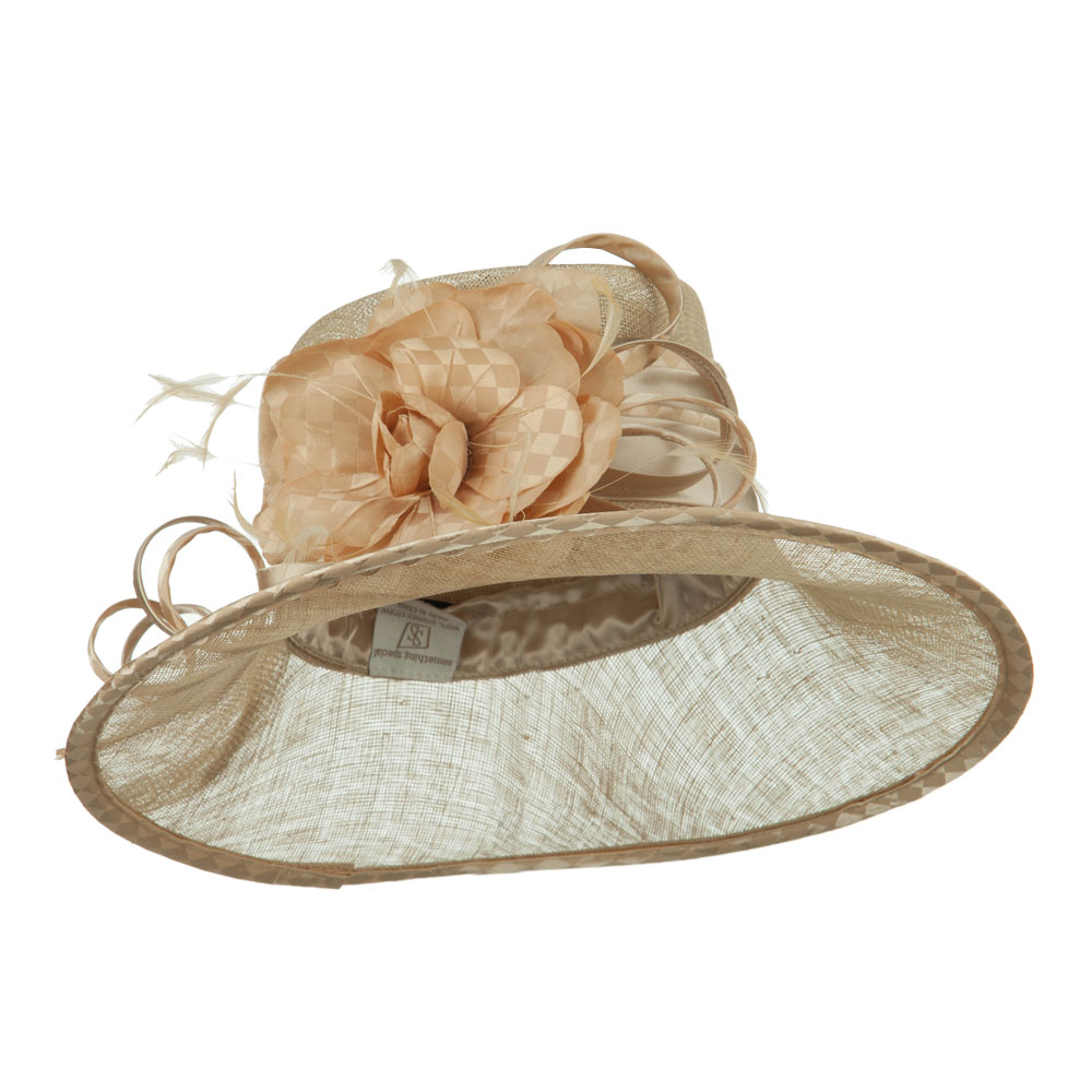 Flower Accent Double Band Sinamay Hat - Champagne - Hats and Caps Online Shop - Hip Head Gear