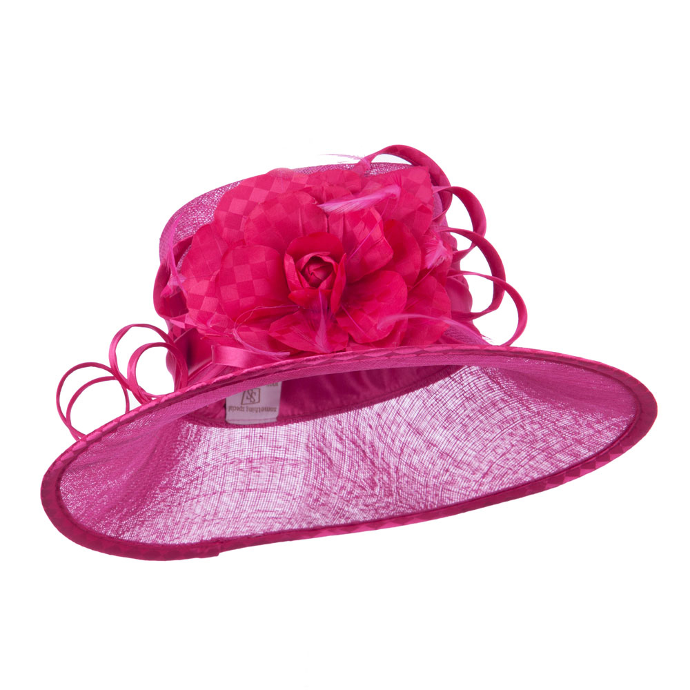 Flower Accent Double Band Sinamay Hat - Fuchsia - Hats and Caps Online Shop - Hip Head Gear