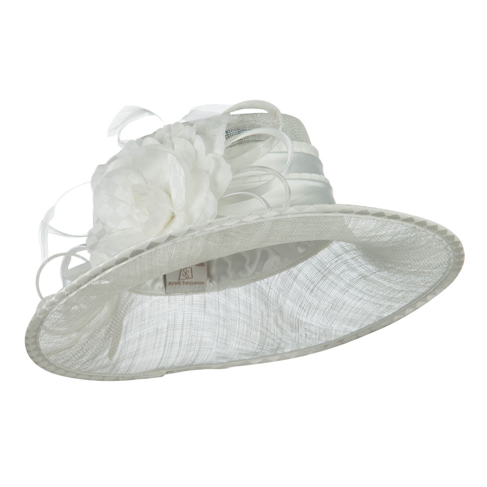 Flower Accent Double Band Sinamay Hat - White - Hats and Caps Online Shop - Hip Head Gear