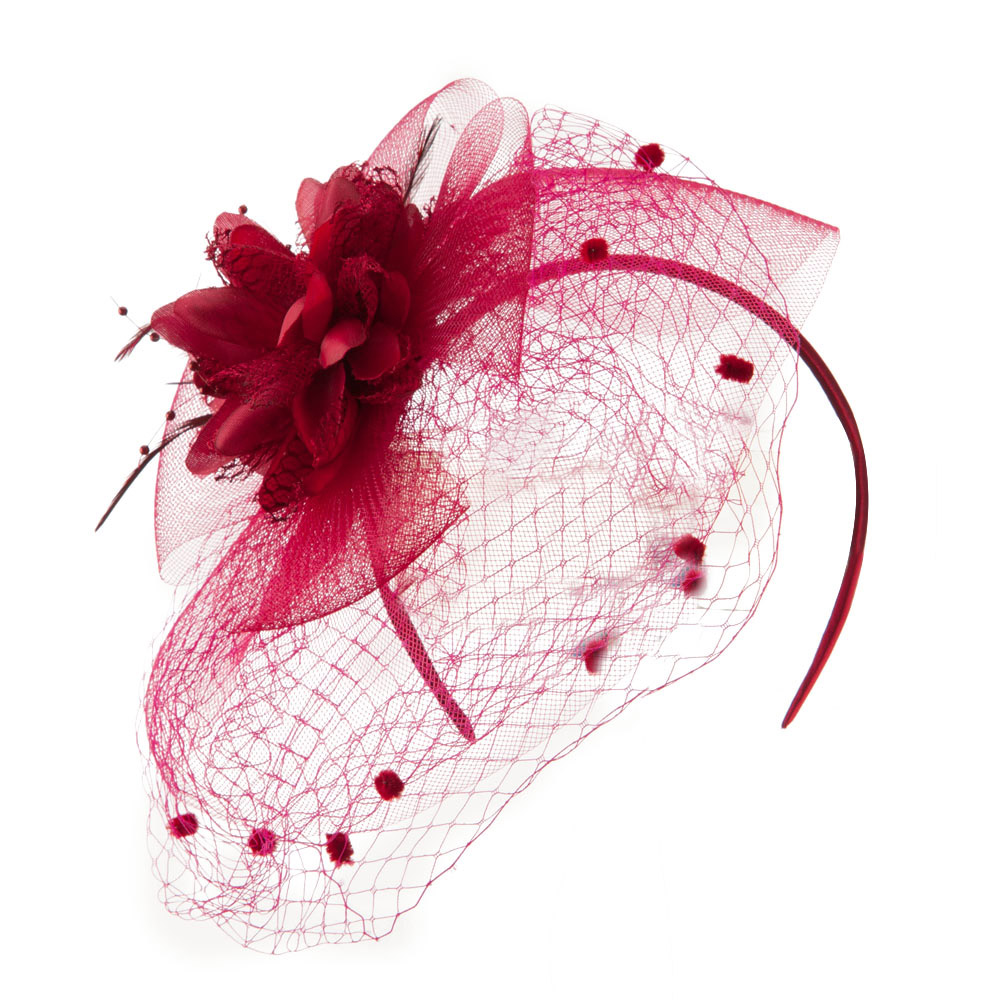 Flower Decoration Fascinator with Pom Pom and Net - Burgundy - Hats and Caps Online Shop - Hip Head Gear