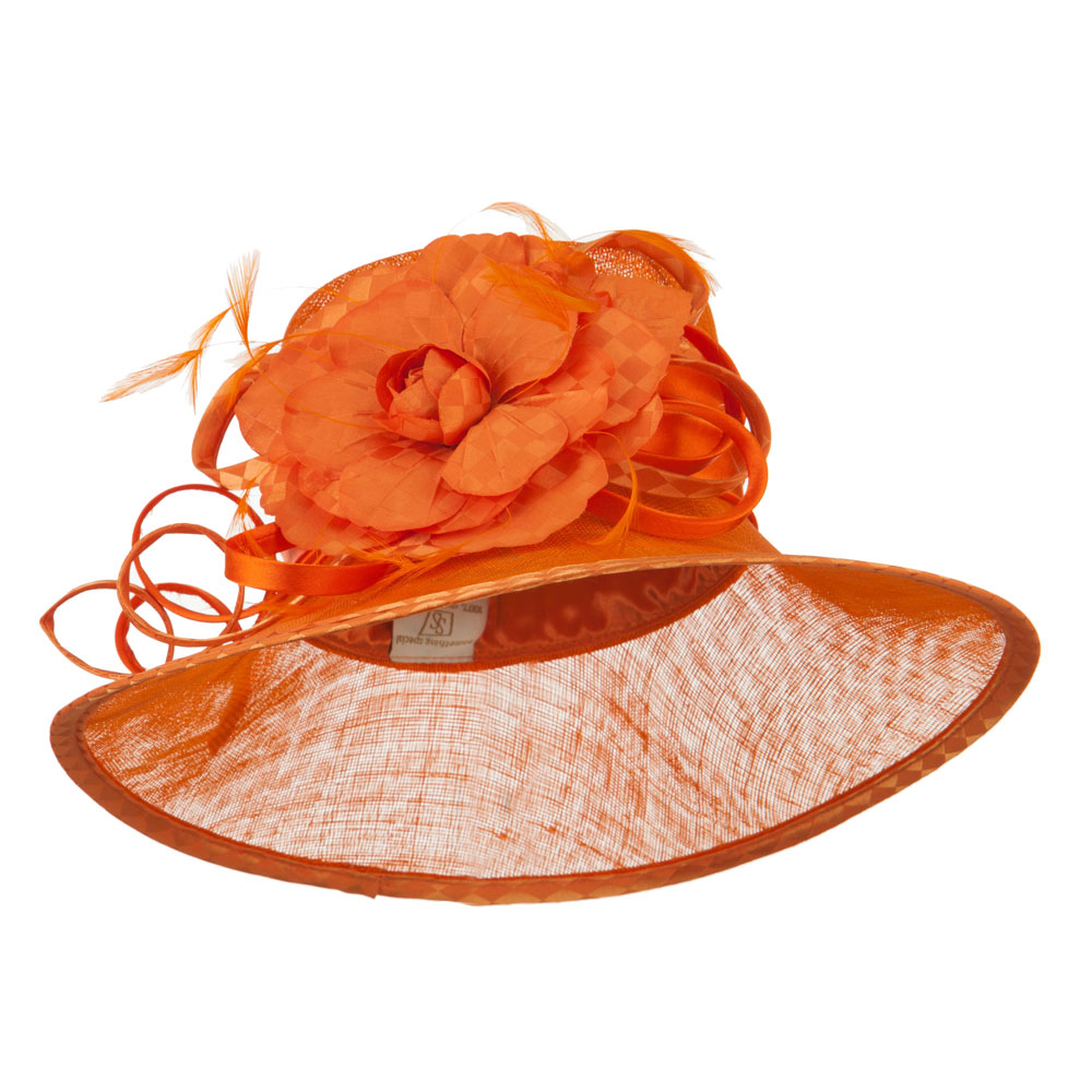 Flower Accent Double Band Sinamay Hat - Orange - Hats and Caps Online Shop - Hip Head Gear