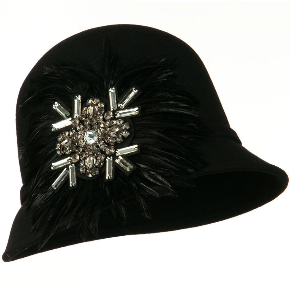Feather and Stone Ribbon Cloche Wool Felt Hat - Black - Hats and Caps Online Shop - Hip Head Gear