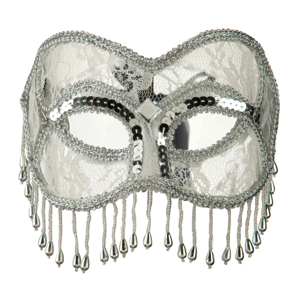 Fringed Lace Eye Mask - Silver