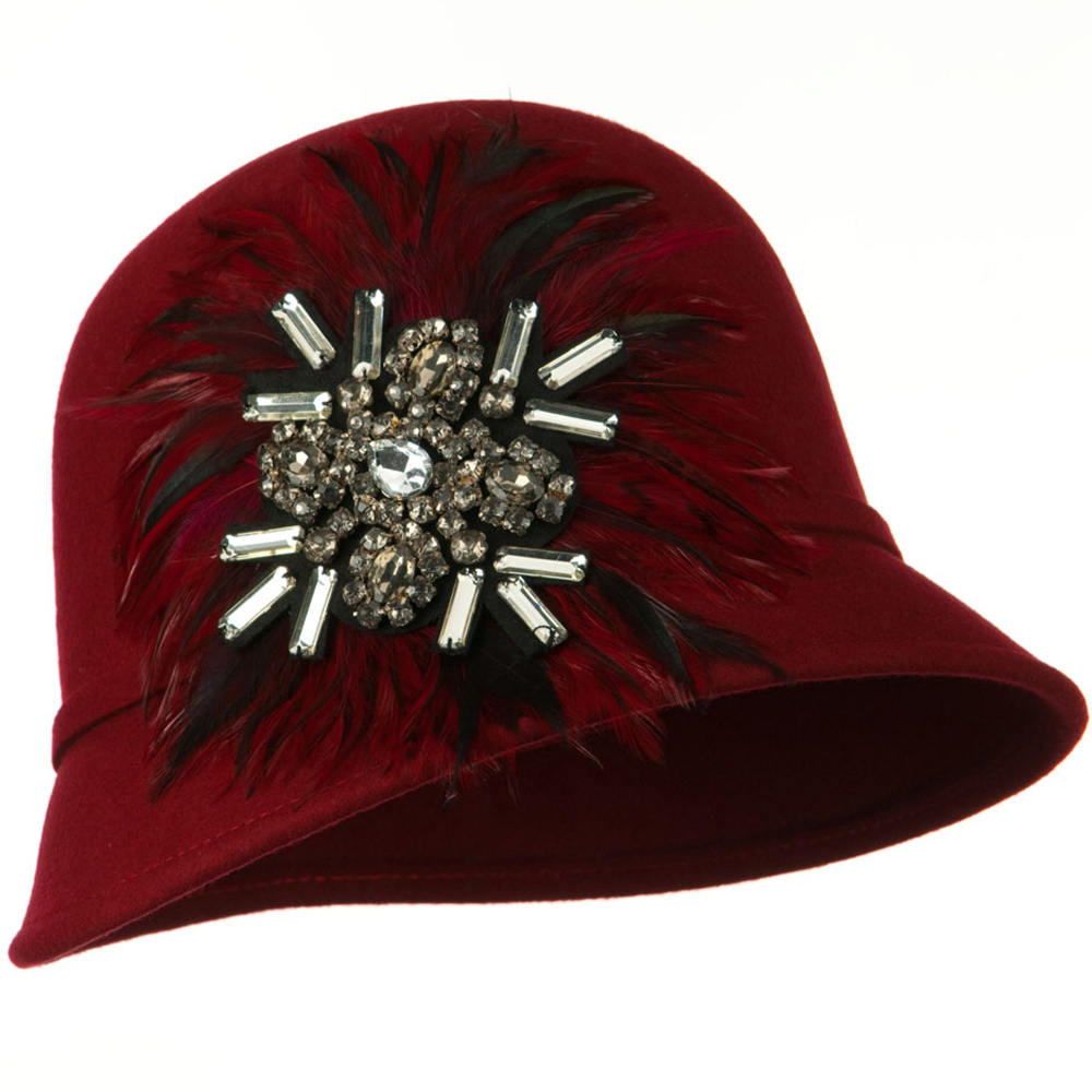 Feather and Stone Ribbon Cloche Wool Felt Hat - Red - Hats and Caps Online Shop - Hip Head Gear