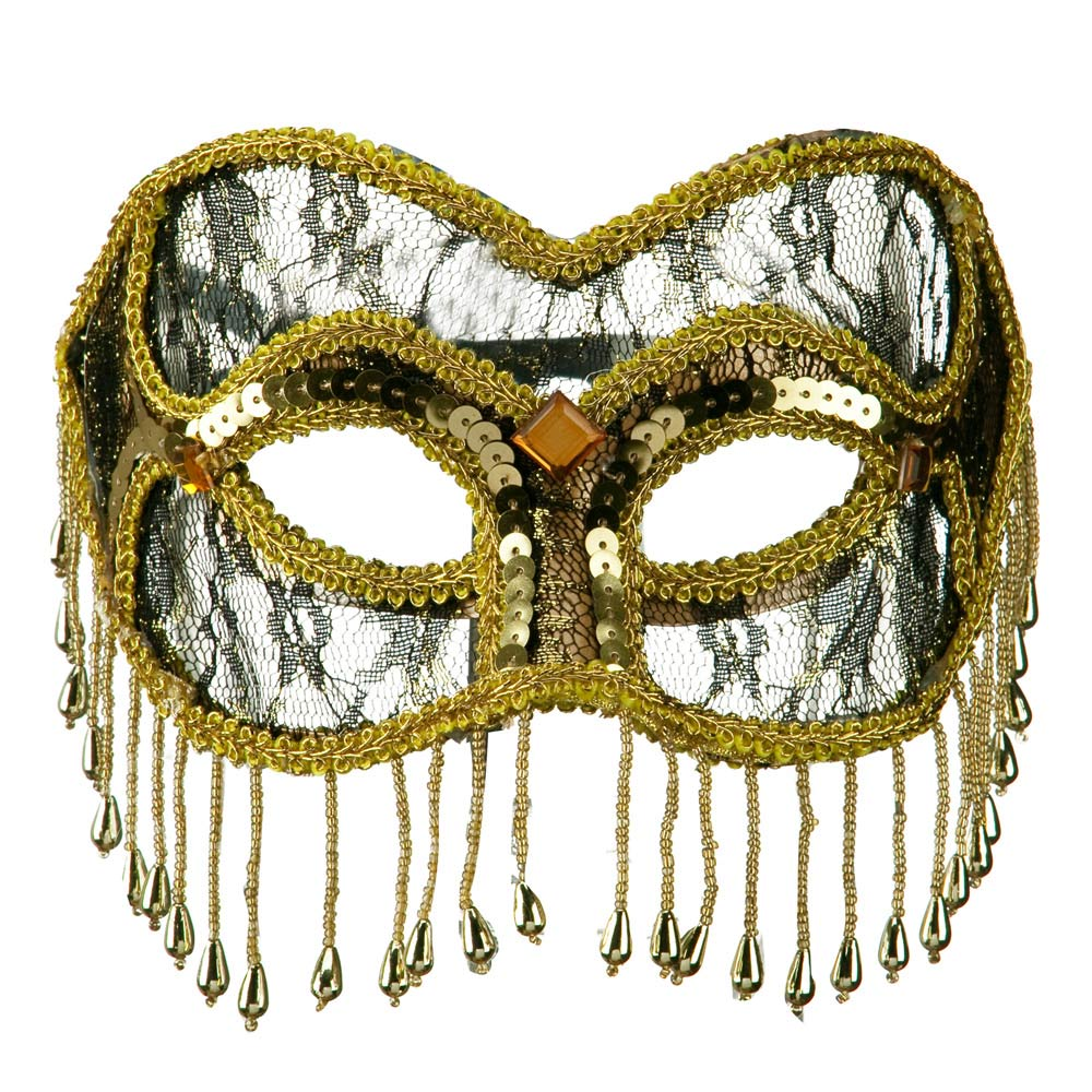 Fringed Lace Eye Mask - Gold - Hats and Caps Online Shop - Hip Head Gear