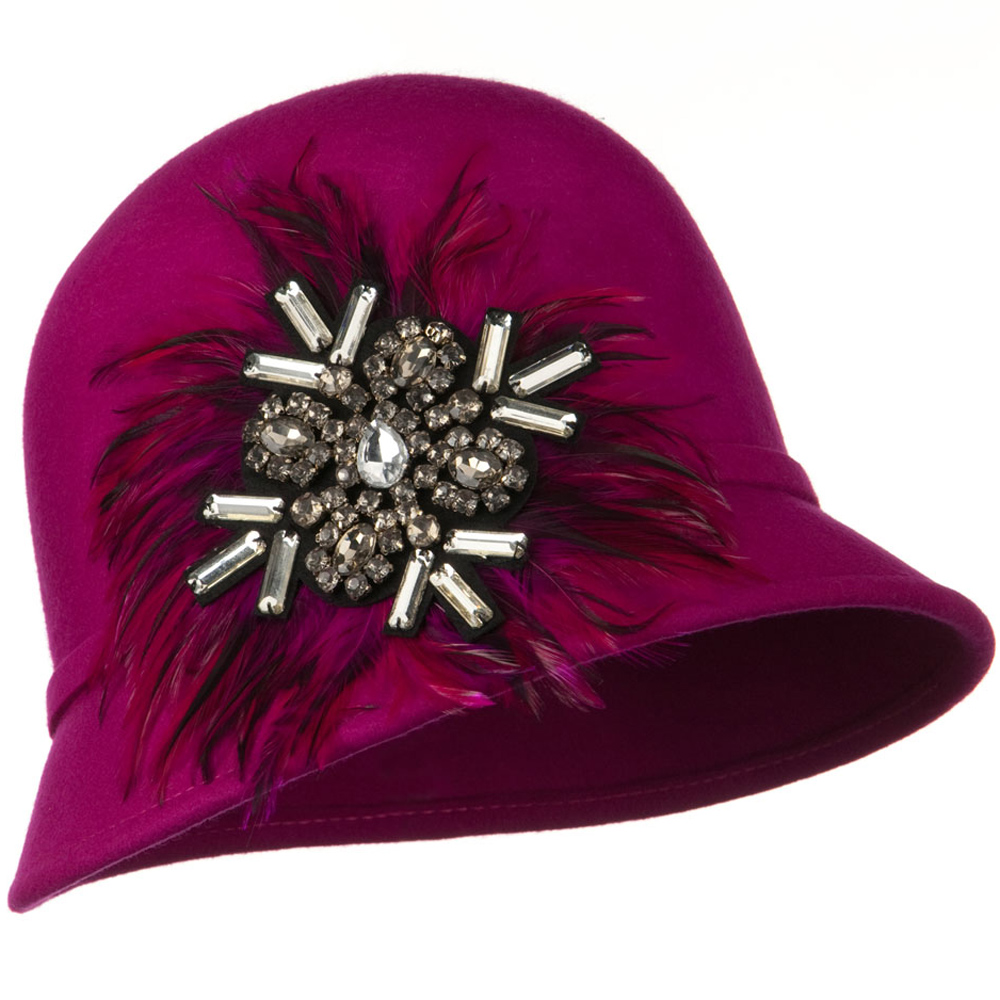 Feather and Stone Ribbon Cloche Wool Felt Hat - Fuchsia - Hats and Caps Online Shop - Hip Head Gear