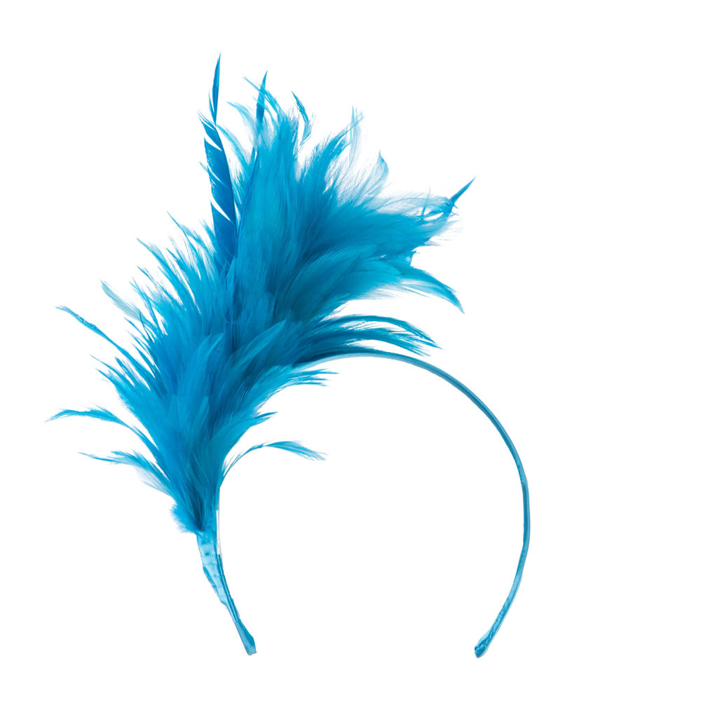 Fancy Feather Fascinator - Turquoise - Hats and Caps Online Shop - Hip Head Gear