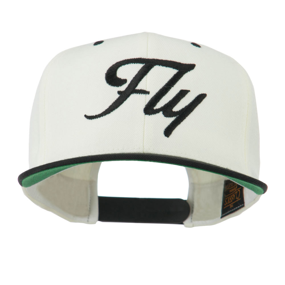 Fly Embroidered Flat Bill Cap - Natural Black - Hats and Caps Online Shop - Hip Head Gear