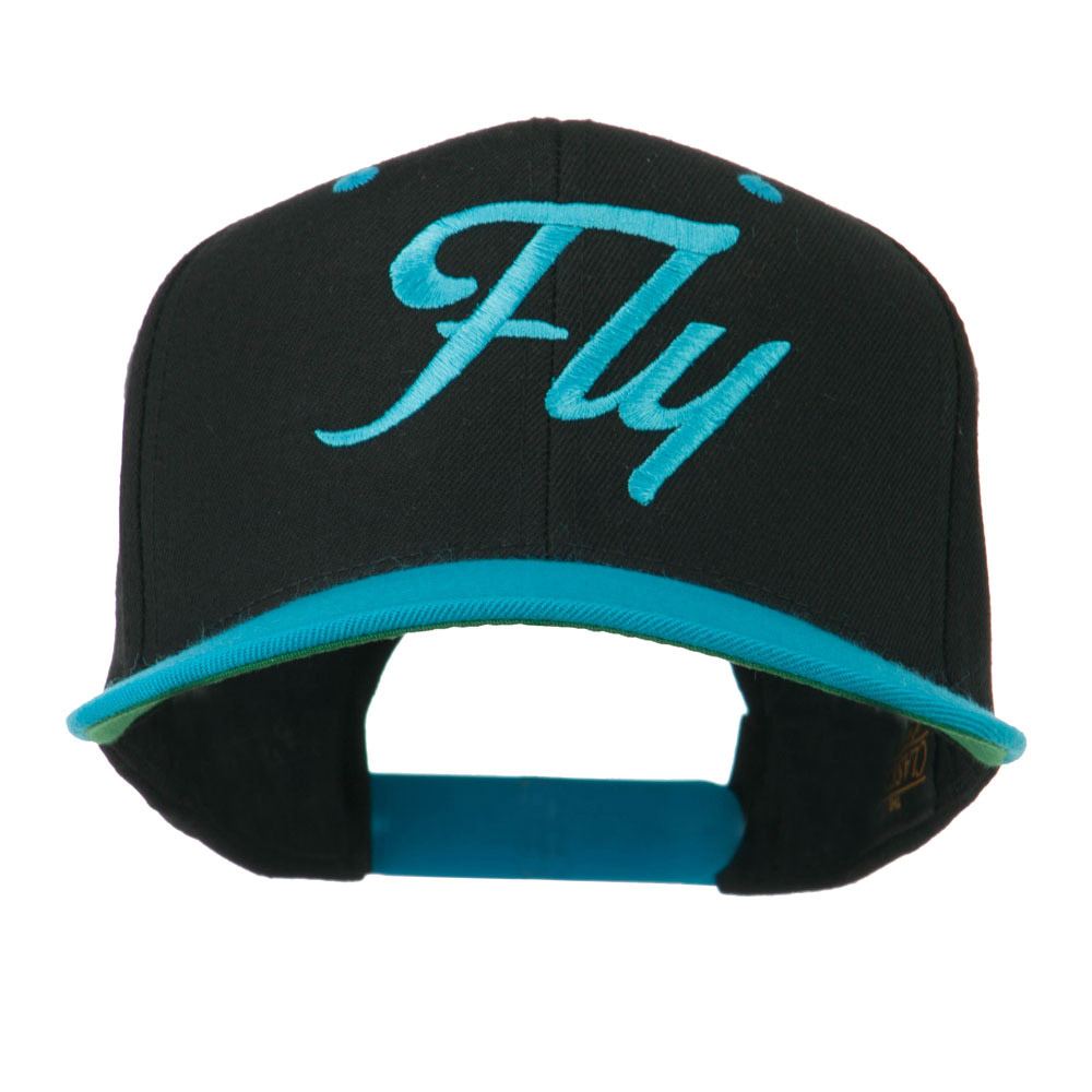 Fly Embroidered Flat Bill Cap - Black Teal - Hats and Caps Online Shop - Hip Head Gear