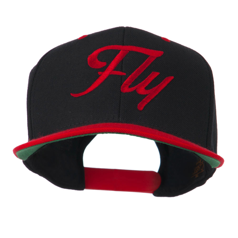 Fly Embroidered Flat Bill Cap - Black Red - Hats and Caps Online Shop - Hip Head Gear