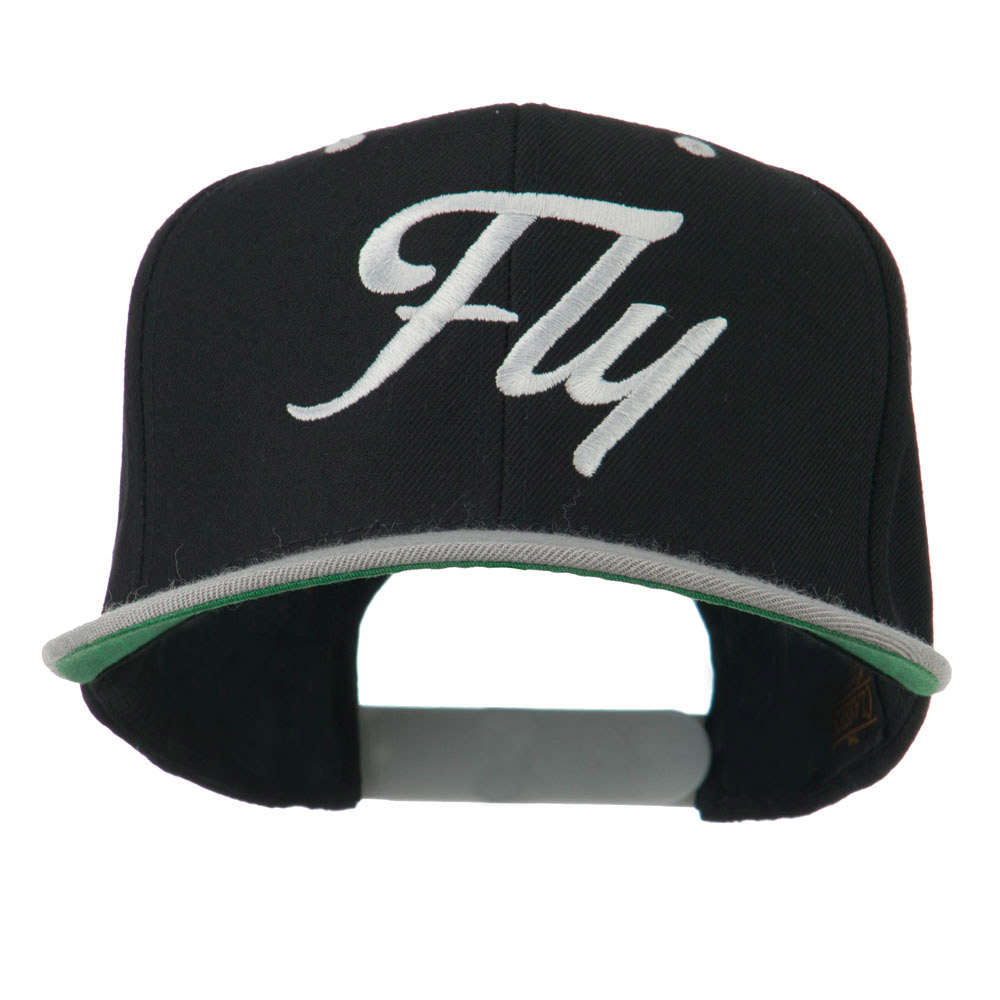 Fly Embroidered Flat Bill Cap - Black Silver - Hats and Caps Online Shop - Hip Head Gear