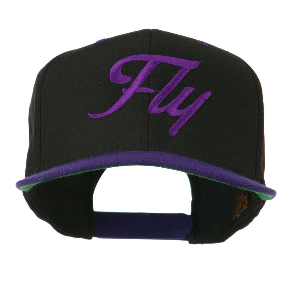Fly Embroidered Flat Bill Cap - Black Purple - Hats and Caps Online Shop - Hip Head Gear