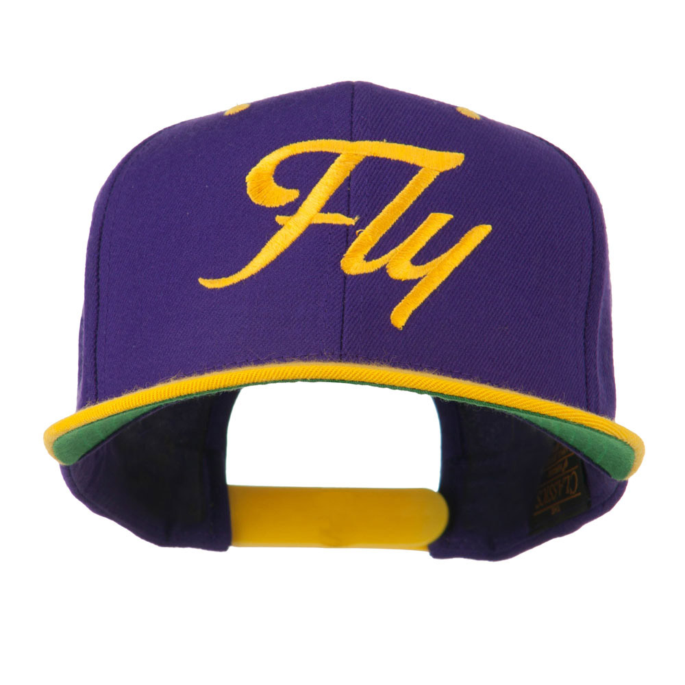 Fly Embroidered Flat Bill Cap - Purple Gold - Hats and Caps Online Shop - Hip Head Gear