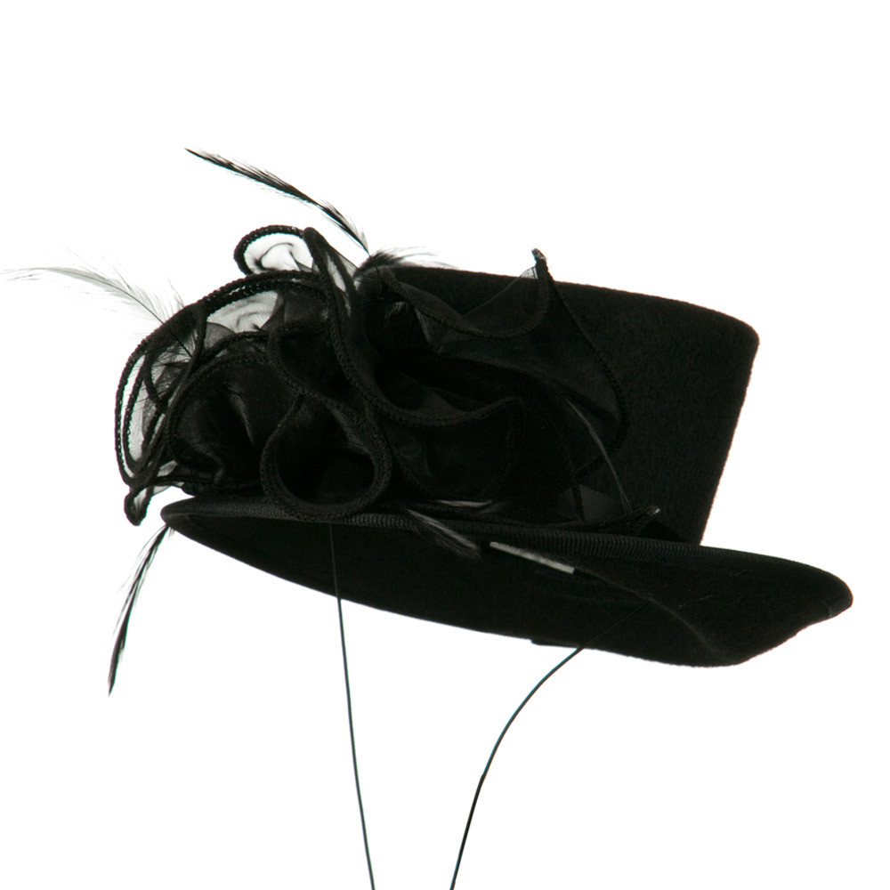 Organza Felt Top Hat Fascinator - Black - Hats and Caps Online Shop - Hip Head Gear