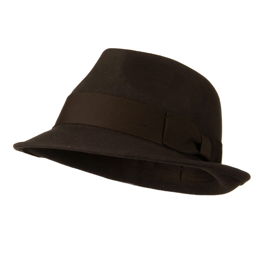 Man's Grosgrain Band and Bow Felt Hat - Chocolate - Hats and Caps Online Shop - Hip Head Gear