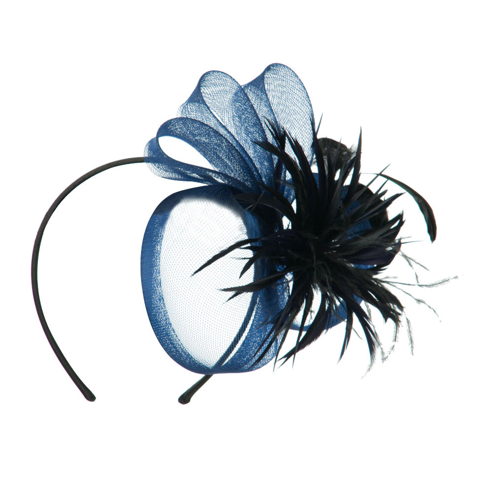 Feather with Netting Detail Headband Fascinator - Blue - Hats and Caps Online Shop - Hip Head Gear