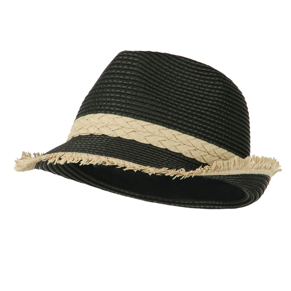 Paper Braid Fedora with Fringed End - Black - Hats and Caps Online Shop - Hip Head Gear