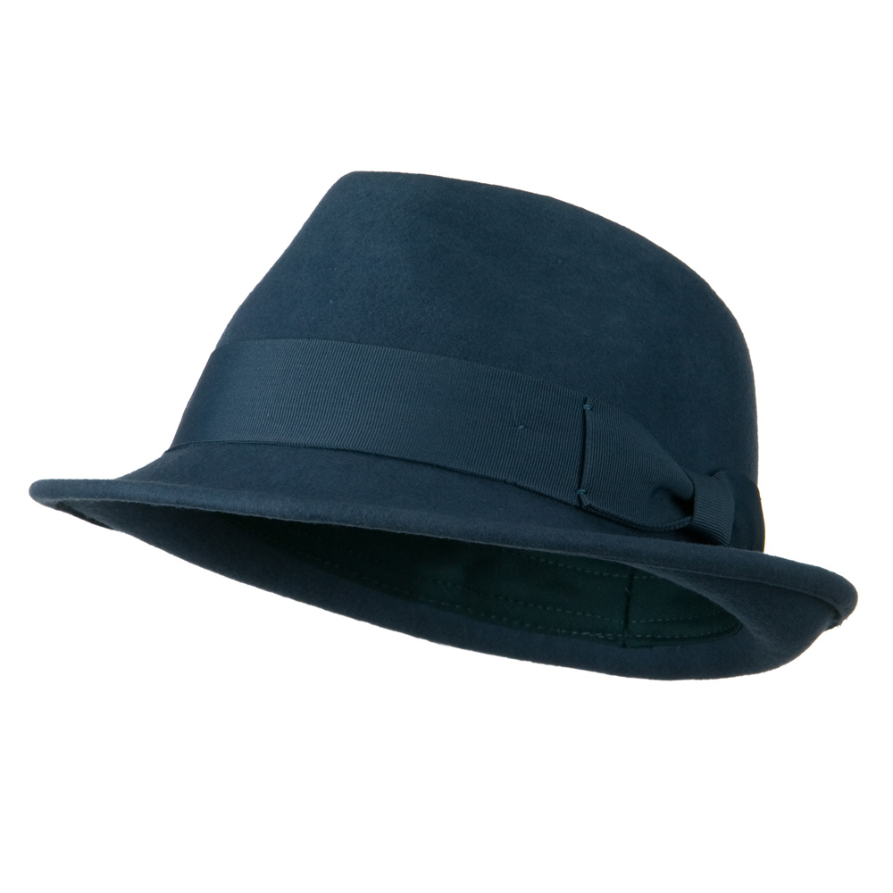 Man's Grosgrain Band and Bow Felt Hat - Teal - Hats and Caps Online Shop - Hip Head Gear