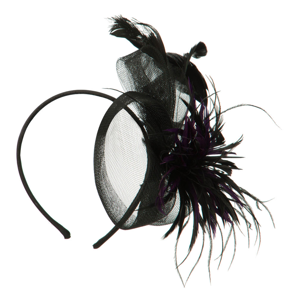 Feather with Netting Detail Headband Fascinator - Purple - Hats and Caps Online Shop - Hip Head Gear