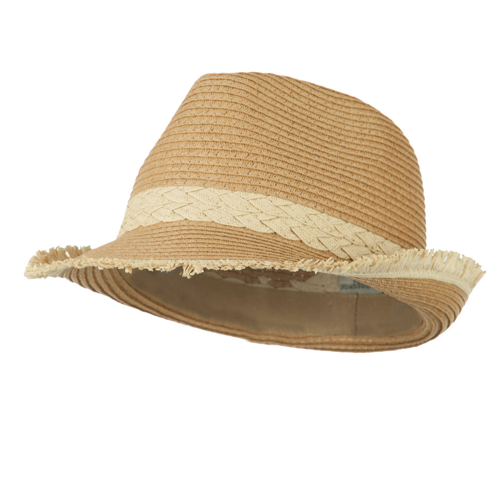 Paper Braid Fedora with Fringed End - Natural - Hats and Caps Online Shop - Hip Head Gear