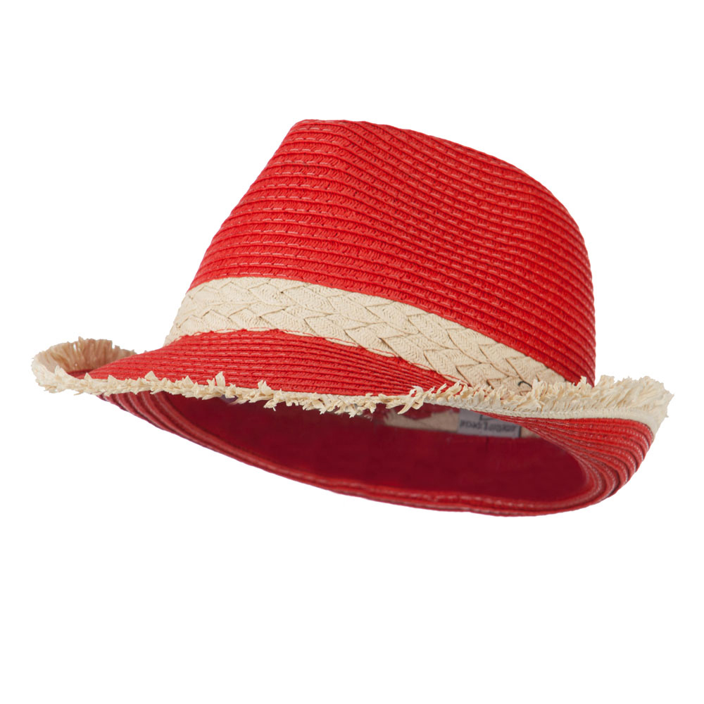 Paper Braid Fedora with Fringed End - Red - Hats and Caps Online Shop - Hip Head Gear