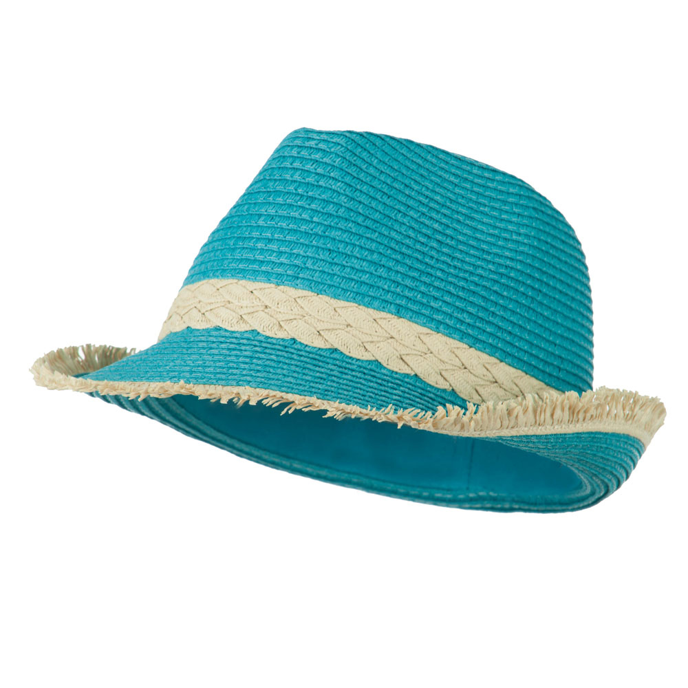 Paper Braid Fedora with Fringed End - Turquoise - Hats and Caps Online Shop - Hip Head Gear