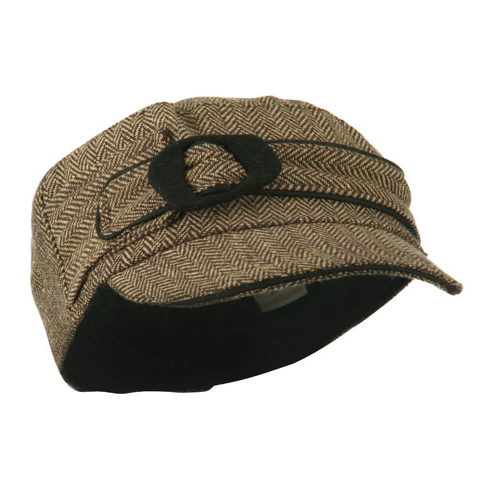 Fitted Herringbone Military Cap - Brown - Hats and Caps Online Shop - Hip Head Gear