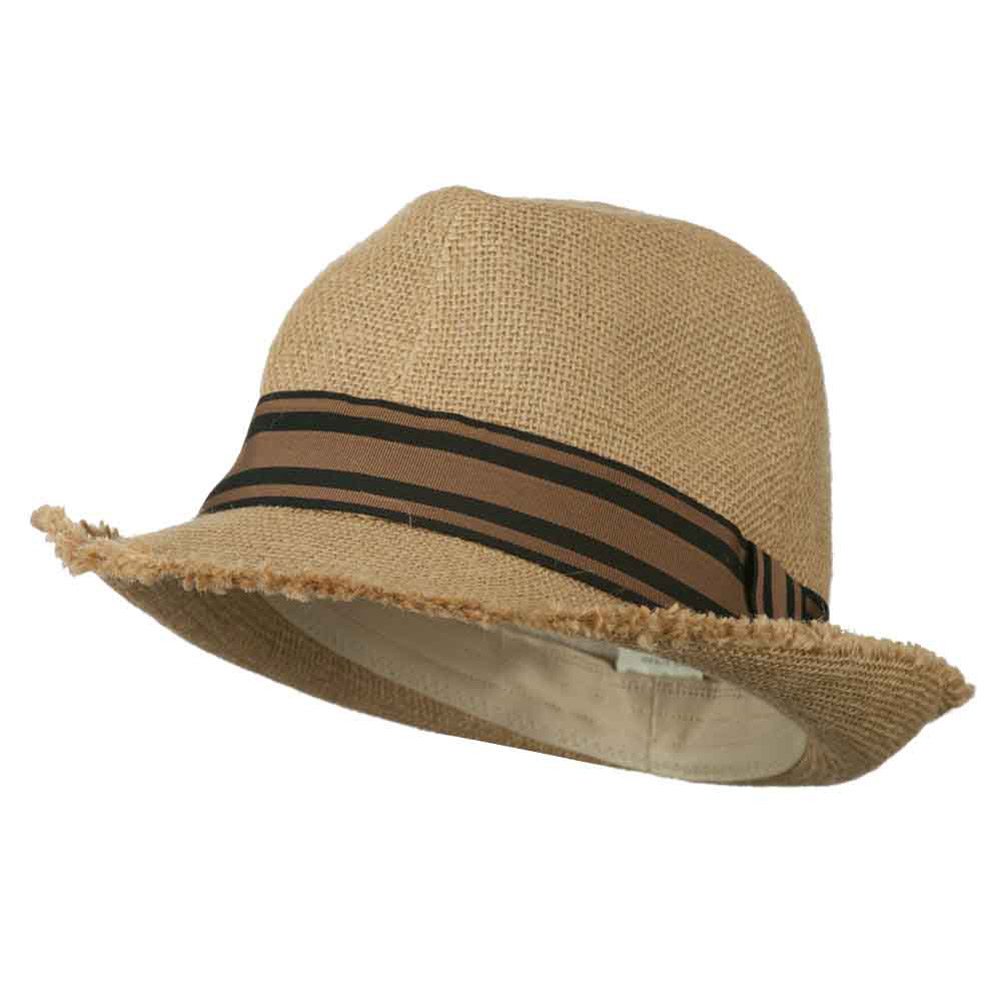 Men's Fedora Hat with Fringed Edge - Tan - Hats and Caps Online Shop - Hip Head Gear