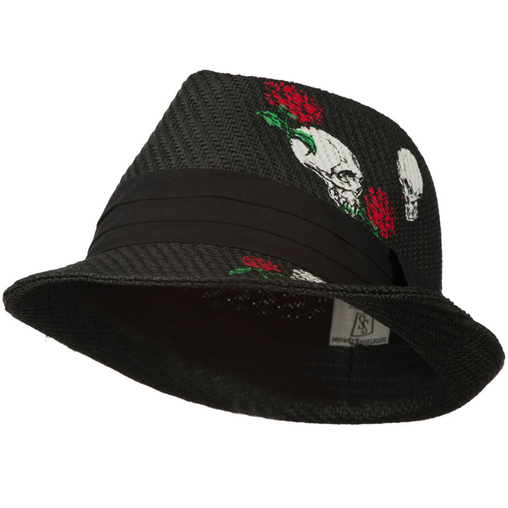 Fedora Hat with Printed Design - Black - Hats and Caps Online Shop - Hip Head Gear