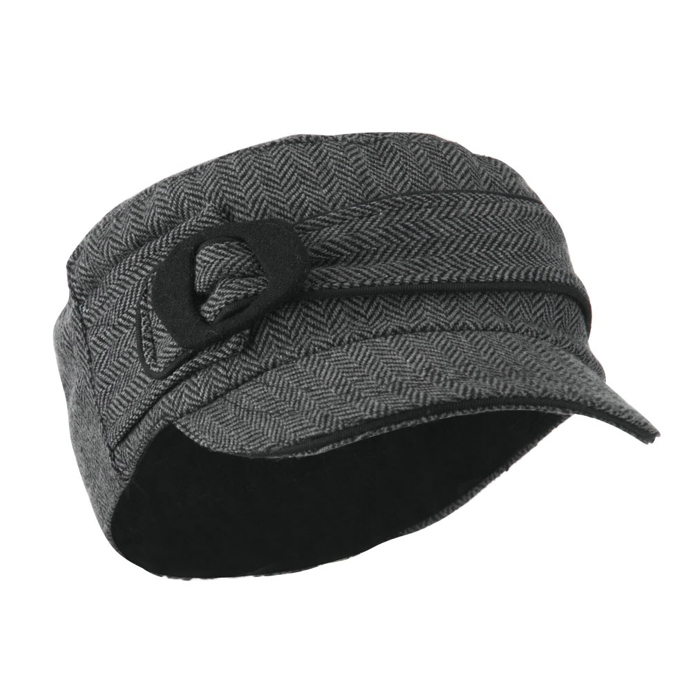 Fitted Herringbone Military Cap - Grey - Hats and Caps Online Shop - Hip Head Gear