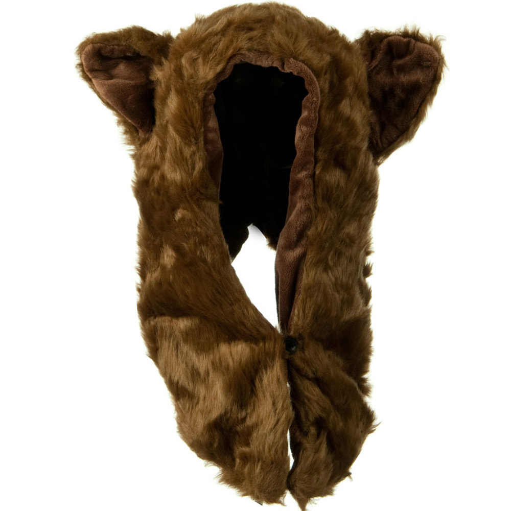 Furry Animal Hood Hat - Brown Bear - Hats and Caps Online Shop - Hip Head Gear