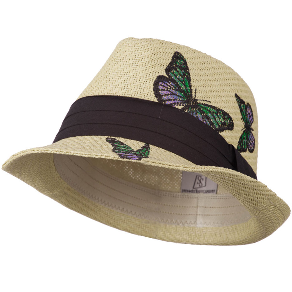 Fedora Hat with Printed Design - Natural Butterflies - Hats and Caps Online Shop - Hip Head Gear