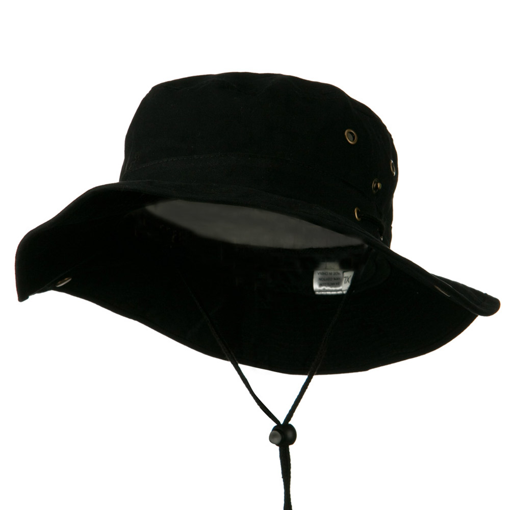 Extra Big Size Brushed Twill Aussie Hats - Black - Hats and Caps Online Shop - Hip Head Gear