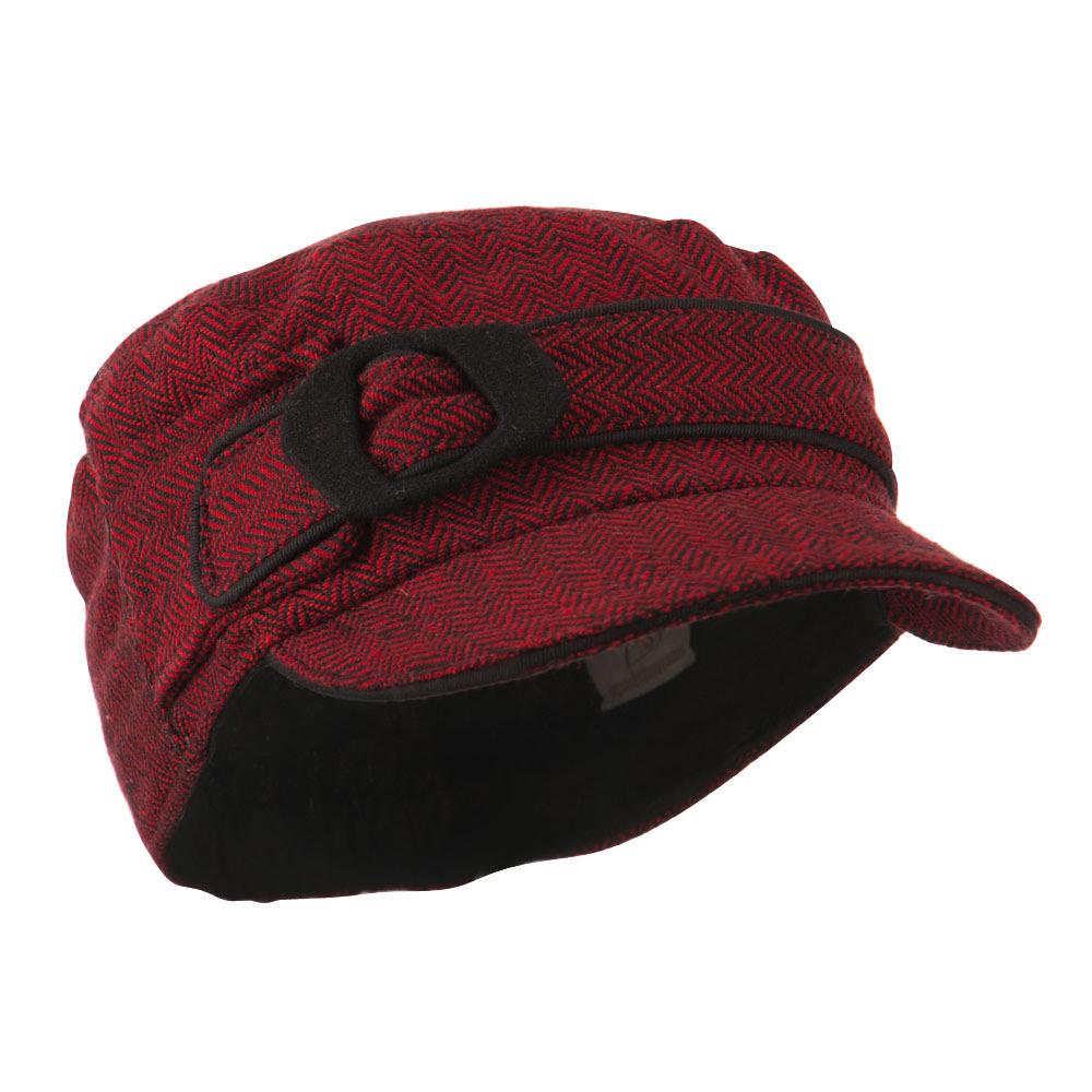 Fitted Herringbone Military Cap - Red - Hats and Caps Online Shop - Hip Head Gear