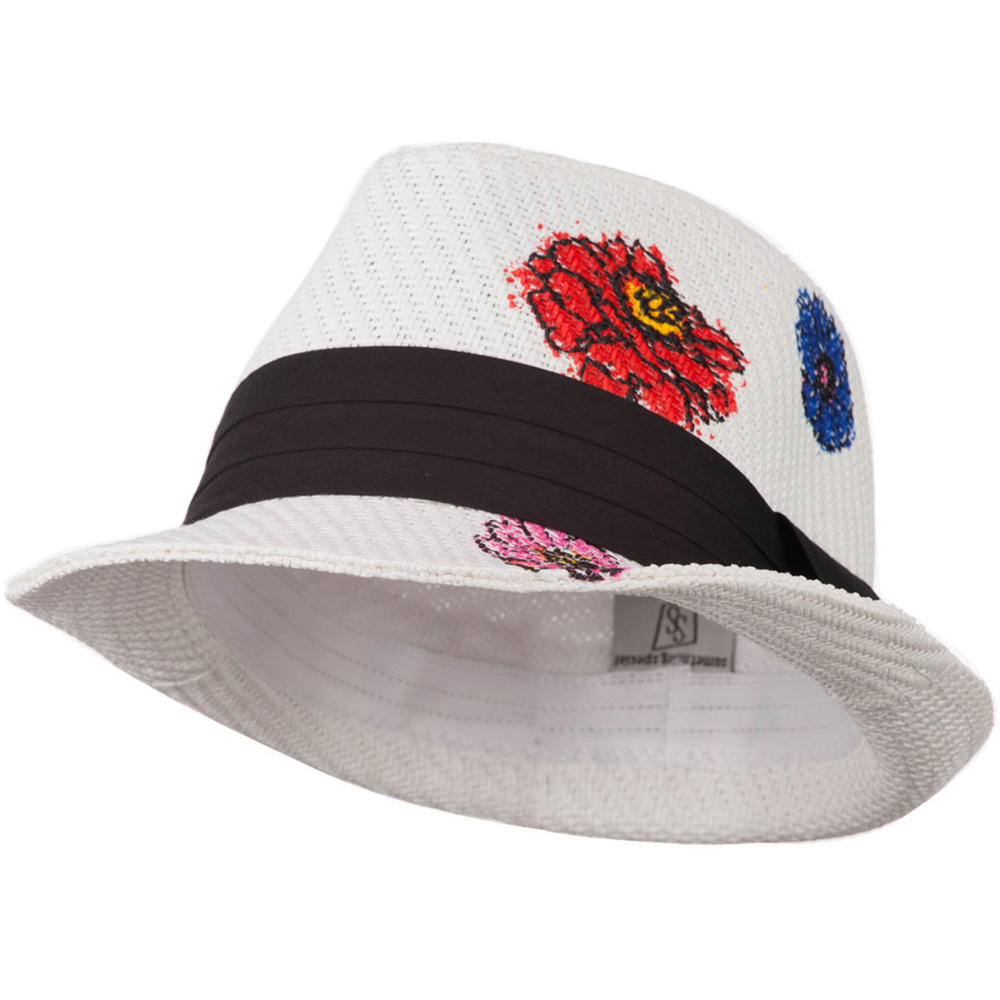 Fedora Hat with Printed Design - White Flower - Hats and Caps Online Shop - Hip Head Gear