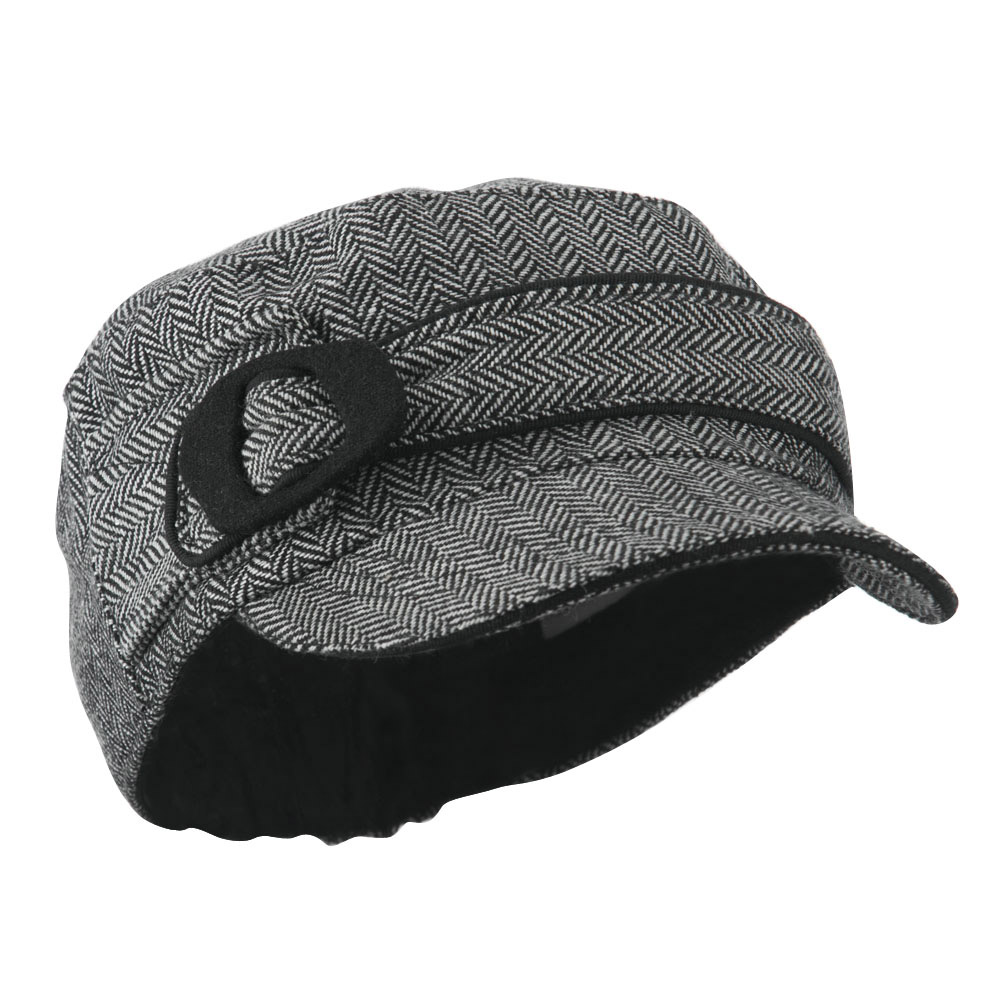 Fitted Herringbone Military Cap - White Black - Hats and Caps Online Shop - Hip Head Gear