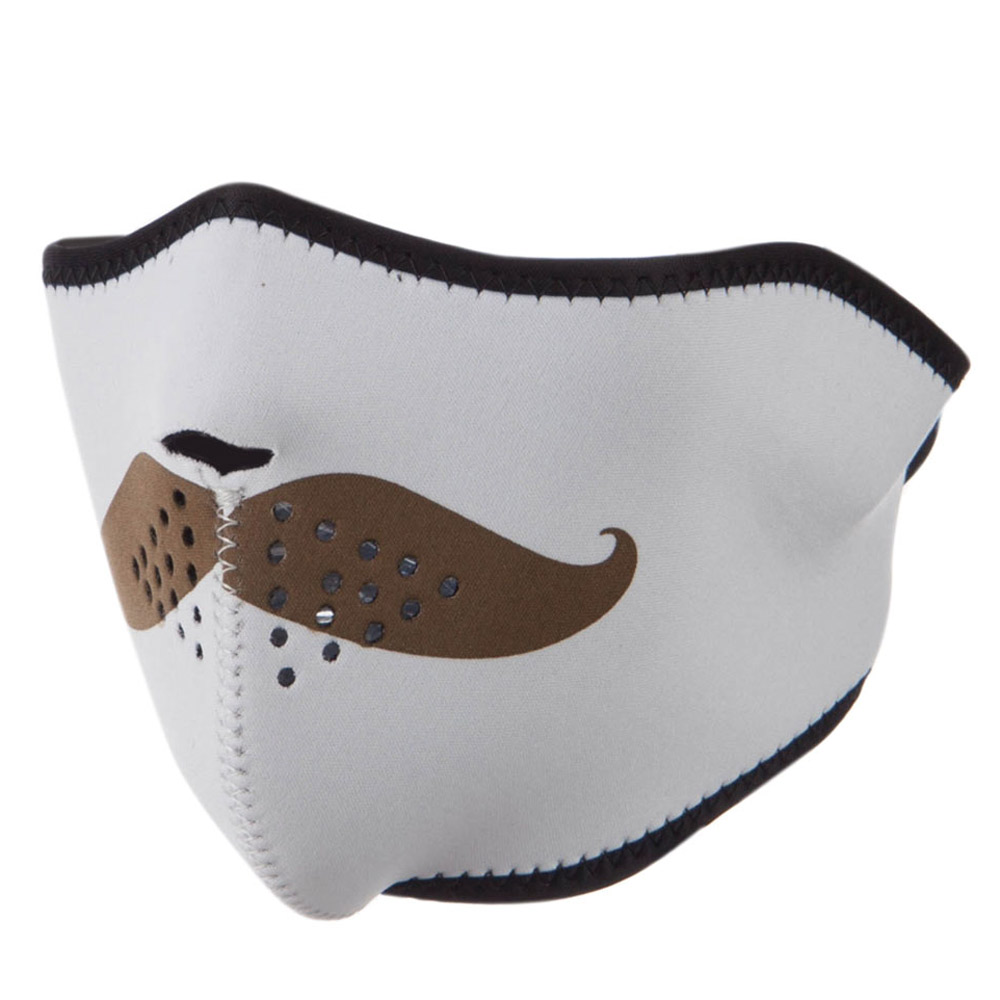 Neoprene Half Face Mask - White with Mustache - Hats and Caps Online Shop - Hip Head Gear