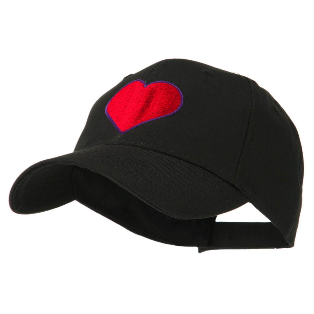 Filled Heart Symbol Embroidery Cap - Black - Hats and Caps Online Shop - Hip Head Gear