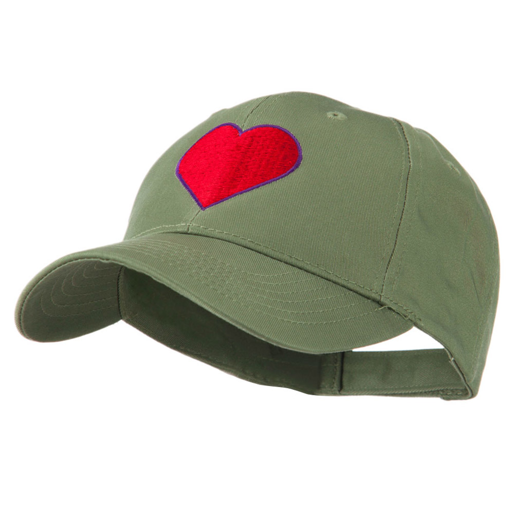 Filled Heart Symbol Embroidery Cap - Olive - Hats and Caps Online Shop - Hip Head Gear