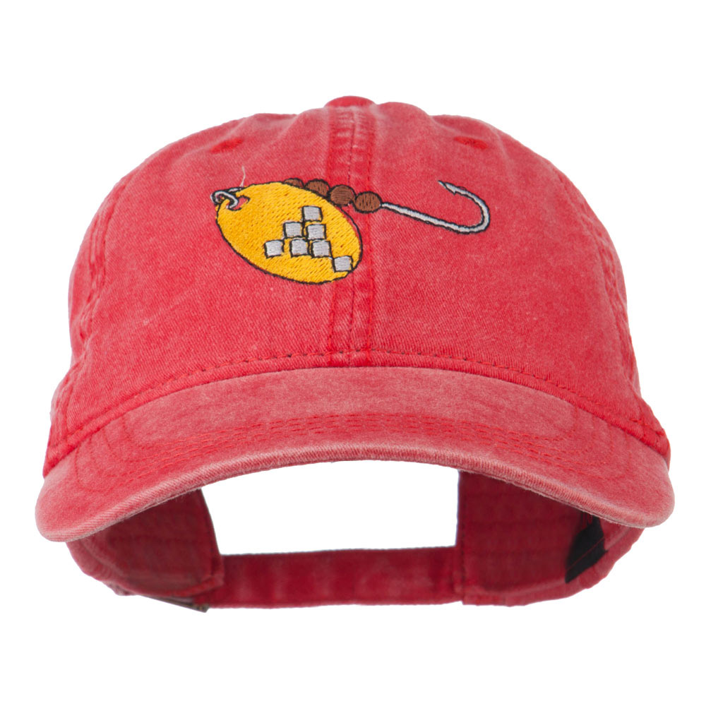 Fishing Spinner Embroidered Washed Cap - Red - Hats and Caps Online Shop - Hip Head Gear