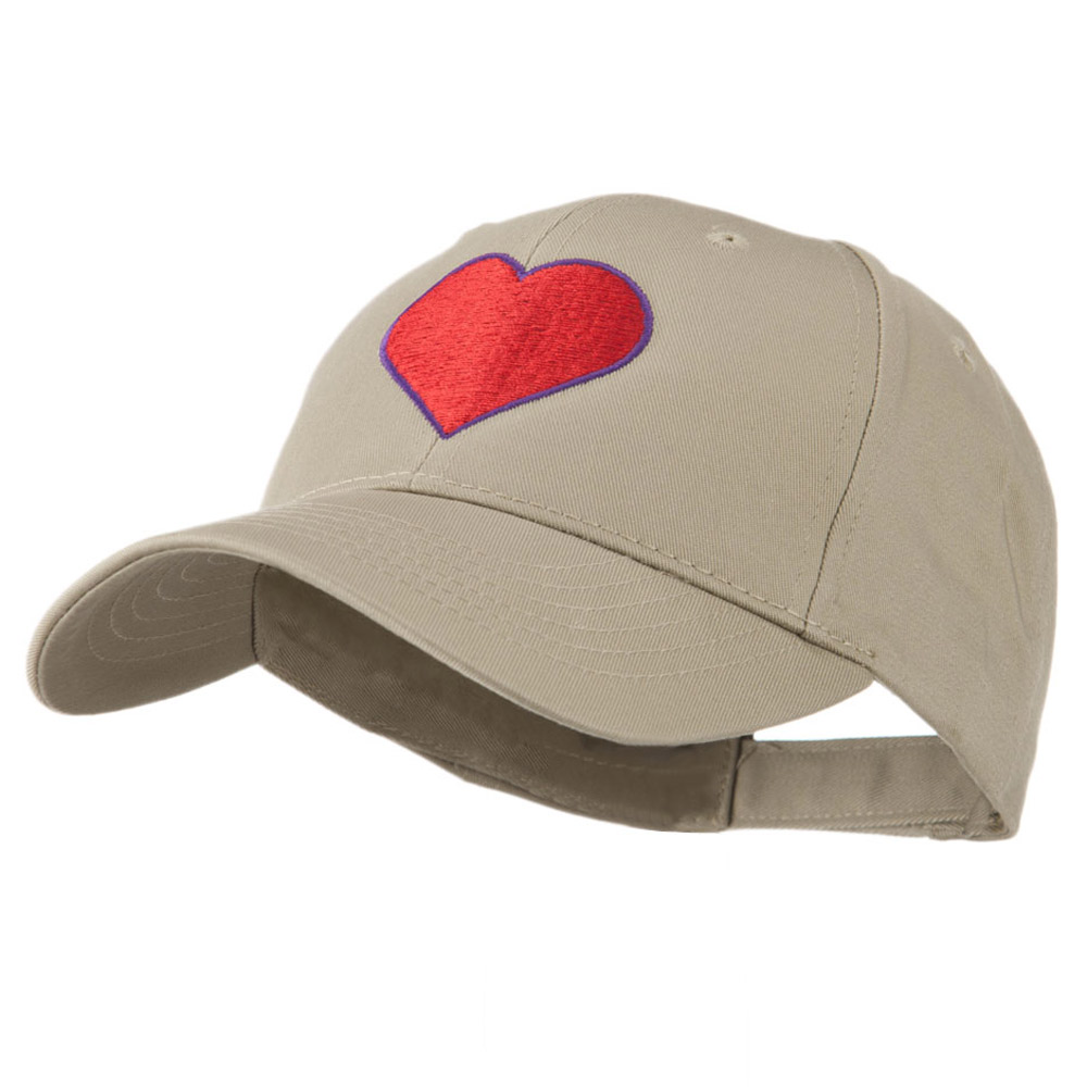 Filled Heart Symbol Embroidery Cap - Khaki - Hats and Caps Online Shop - Hip Head Gear
