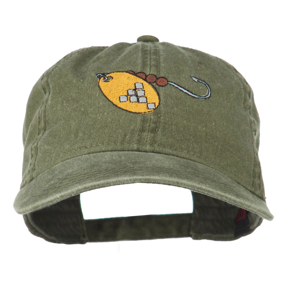 Fishing Spinner Embroidered Washed Cap - Olive Green - Hats and Caps Online Shop - Hip Head Gear