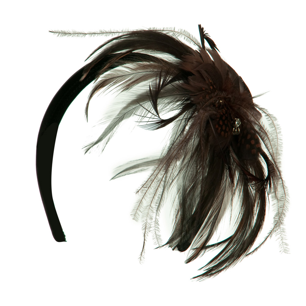 Feather Headband with Rhinestone - Brown - Hats and Caps Online Shop - Hip Head Gear