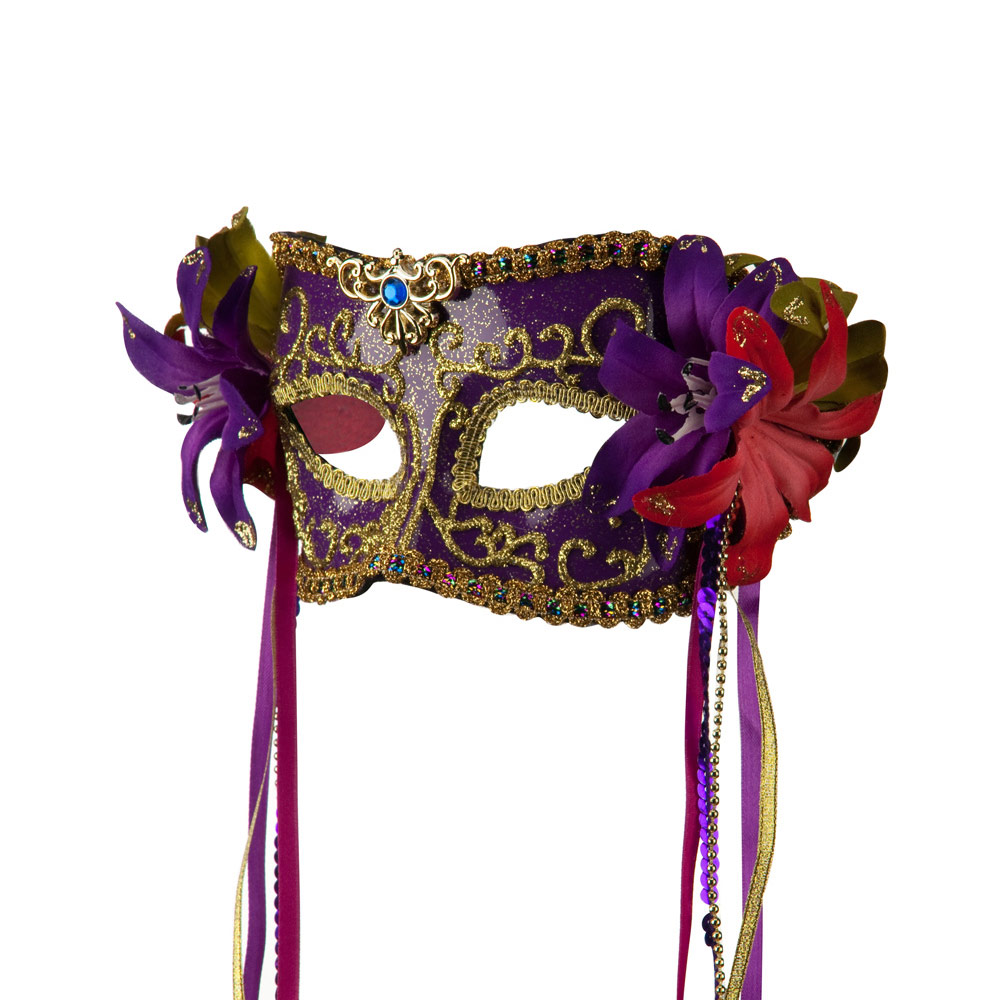 Mask with Flower and Ribbon - Purple - Hats and Caps Online Shop - Hip Head Gear