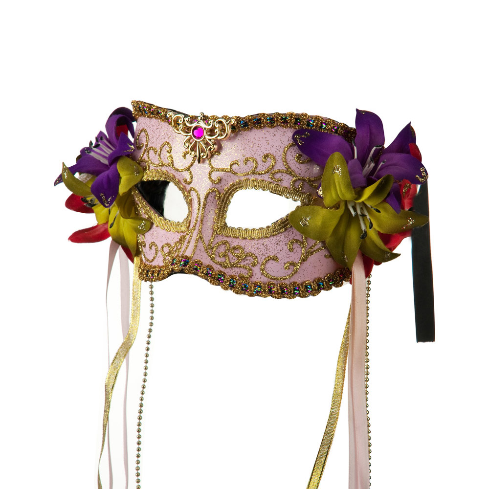 Mask with Flower and Ribbon - Pink
