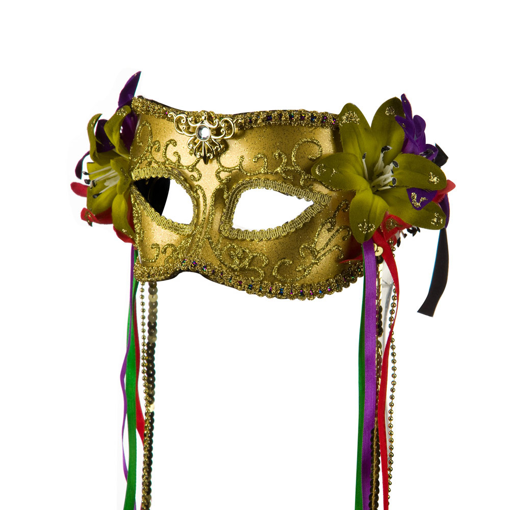 Mask with Flower and Ribbon - Gold - Hats and Caps Online Shop - Hip Head Gear