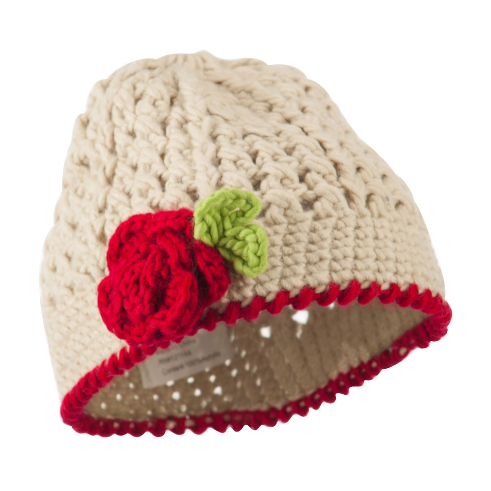Girl's Flower and Leaf Knit Cap - Beige - Hats and Caps Online Shop - Hip Head Gear