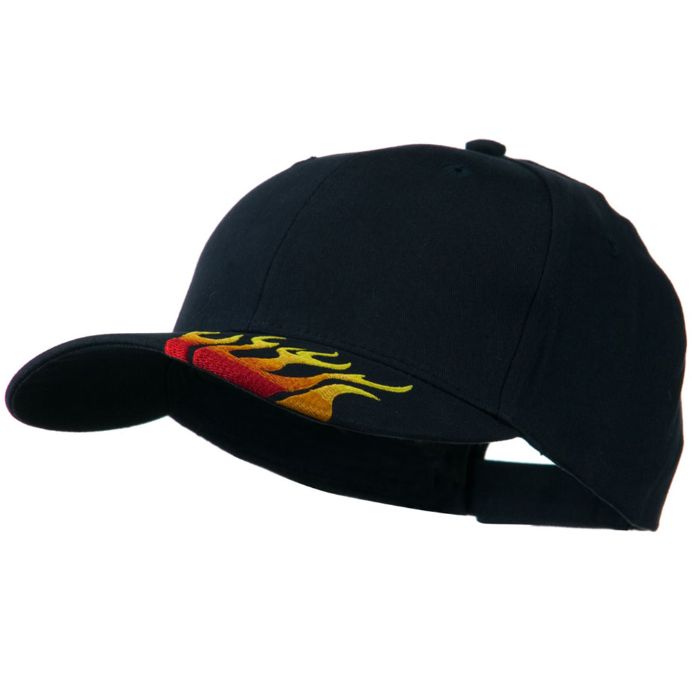 Brushed Cotton Embroidered Flame Logo Cap - Navy - Hats and Caps Online Shop - Hip Head Gear