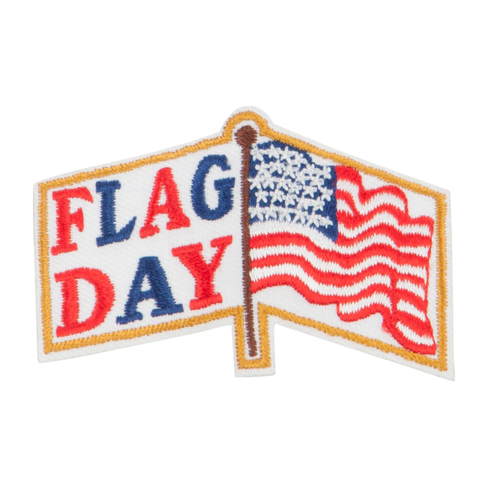 US Flag Day Embroidered Patches - White Gold