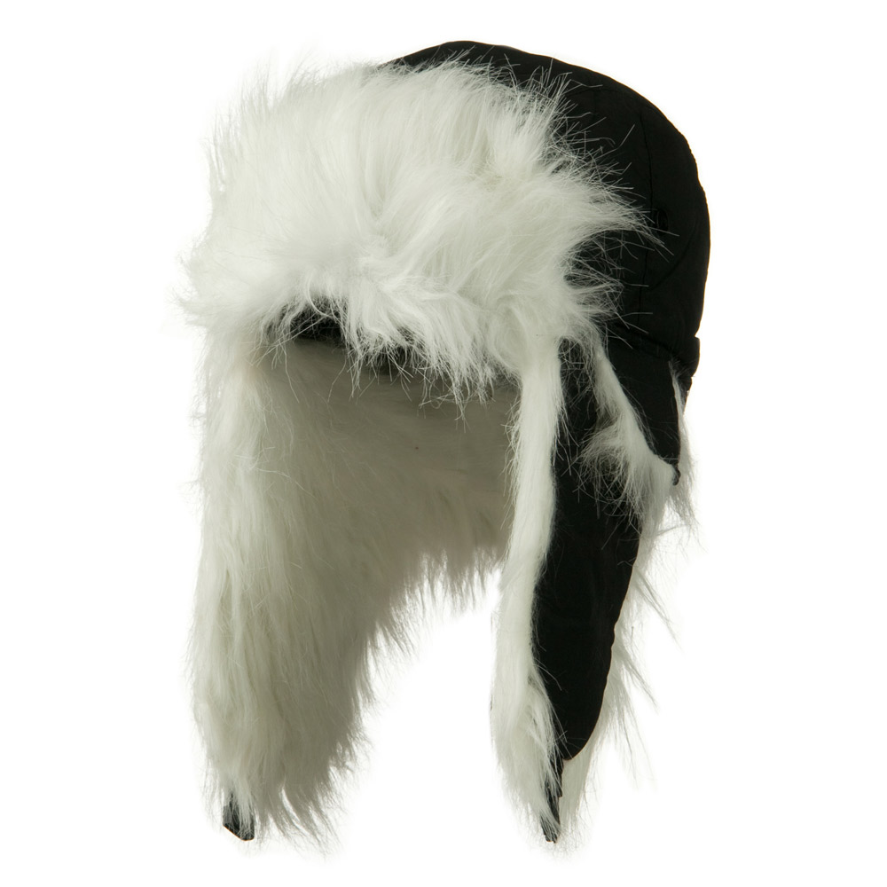 Jeanne Simmons Poly White Faux Fur Lining Trooper Hat - Black W29S66D